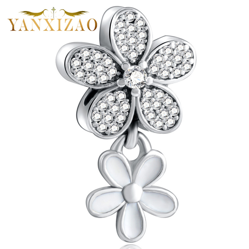 YANXIZAO 925 Silver lotus girl Shape Love Fit Pandora Bracelet Charms Beads DIY Bracelet Jewelry Mothers Day Gift