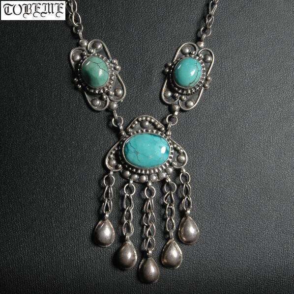 Ancien collier en argent népalais 925 fait à la main Vintage 925 Sterling bohême femmes collier Tribal collier