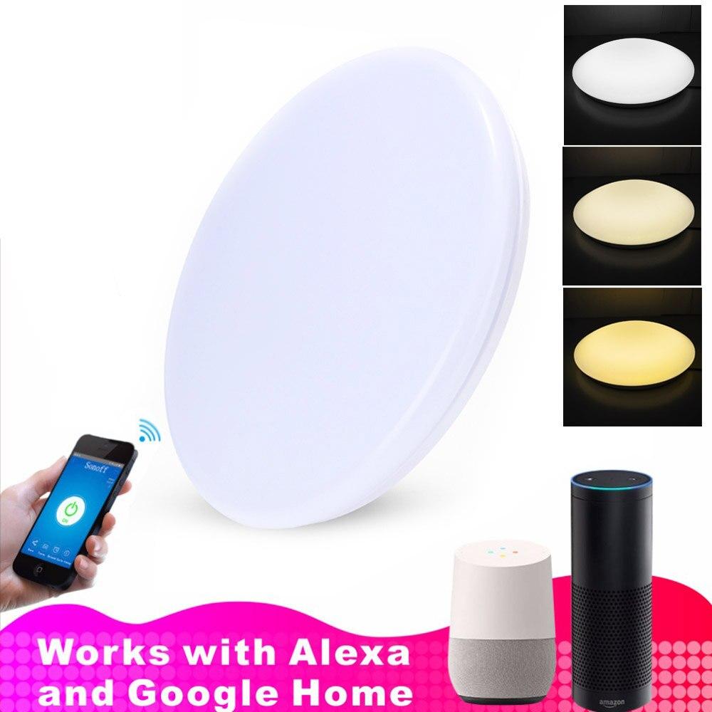 JIAWEN Wifi téléphone APP contrôle trois couleurs ajustées LED plafonnier fonctionnant avec Amazon Alexa et Google AC110-240 V