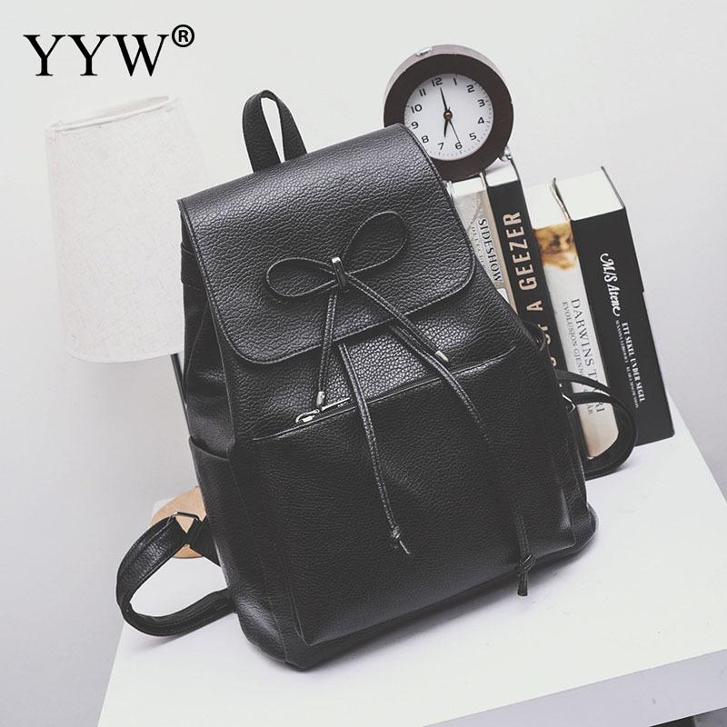YYW Backpack School-Bags Women Mochila Rucksack Teenager Pu Bow Female Mujer Dropship