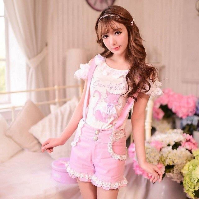 Princess sweet lolita shorts Candy rain Japanese style sweet Pure and fresh lace stretch Straps shorts C15AB5796
