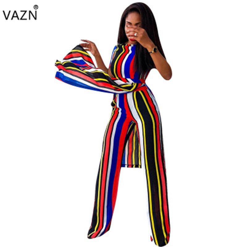 VAZN 2019 Young Lady Of Note Elegant Plus Size Striped Short Sleeve X-Long Top Long Pants Overalls Women 2 Piece Set MYP8853
