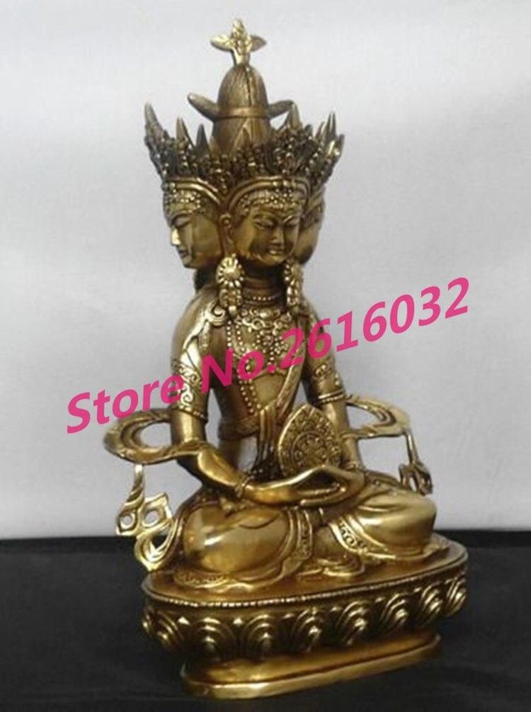 Chinese messing Buddhistischen bronze VAIROCANA, Herr der Mitte 4 gesicht buddha statue #7555