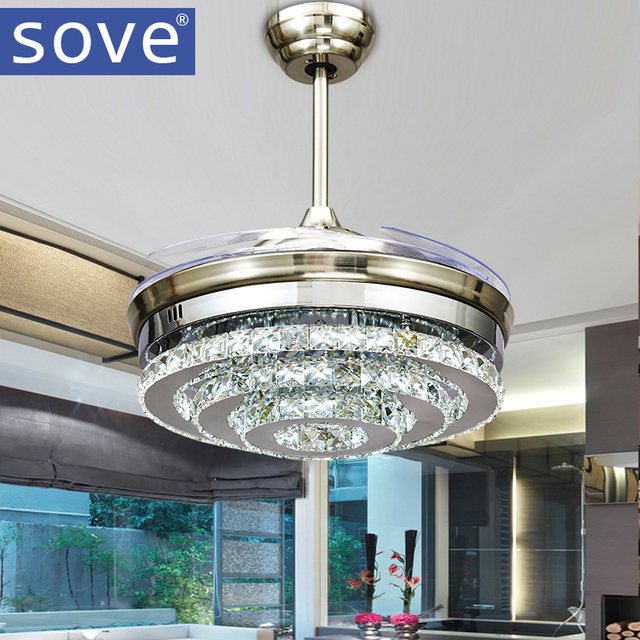 SOVE Modern LED Invisible Crystal Ceiling Fans With Lights Bedroom     SOVE Modern LED Invisible Crystal Ceiling Fans With Lights Bedroom Folding Ceiling  Light Fan Remote Control