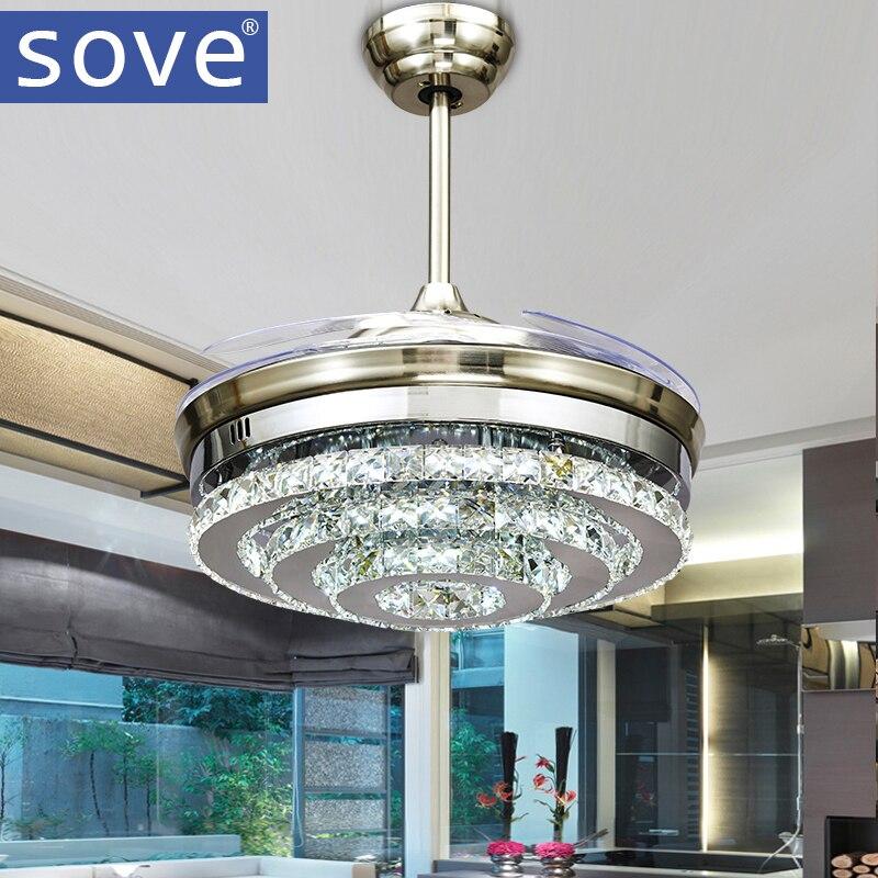 SOVE Modern LED Invisible Crystal <font><b>Ceiling</b></font> Fans With Lights Bedroom Folding <font><b>Ceiling</b></font> Light Fan Remote Control Ventilador de teto
