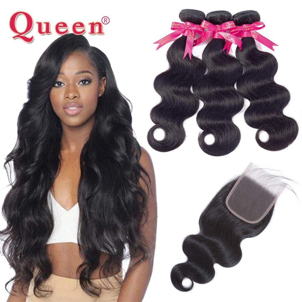 מלכת מוצרים לשיער ברזילאי שיער Weave גוף גל 3 חבילות עם סגירת שיער ברזילאי לא מעובד שיער שיער טבעי חבילות עם סגירה
