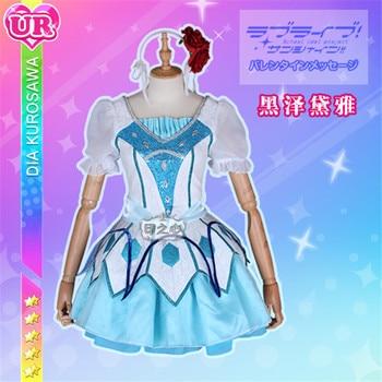 Hot Sale 2019 Cosplay Costume lovelive sunshine Aqours  12th ending Aquamarine New World Dia Kurosawa dress full sets A