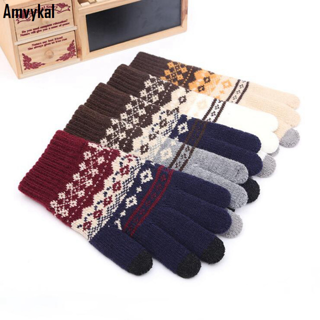 Amvykal invierno mujeres calientes de lana de punto guantes mágicos  Smartphone Tablet PC pantalla táctil guantes 47de0cc4769