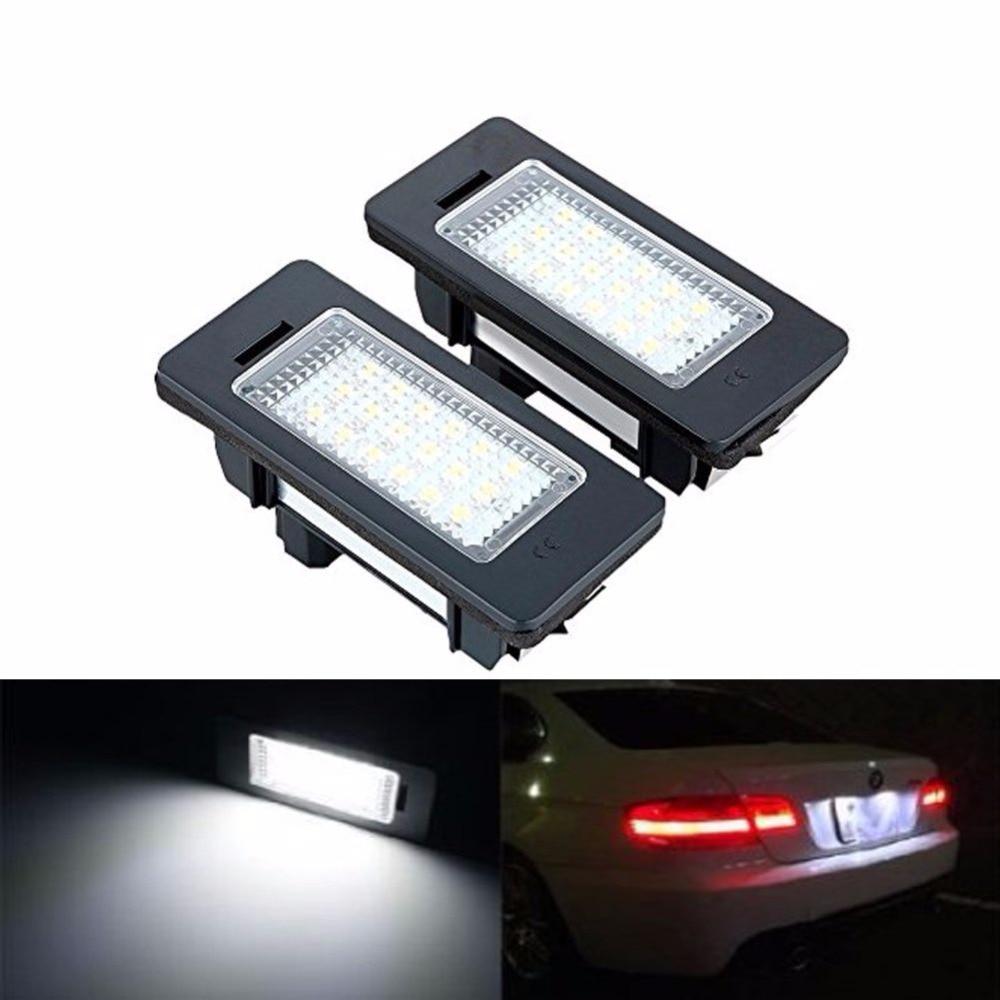 1 pair License Plate Light Error Free 18 LEDs Car License Number Plate Light Lamp Bulb For BMW E90 M3 E92 E70 E39 F30 E60 E93 one pair 12v 18 leds number car license plate lights white lamp error free car exterior light for bmw x5 e53 x3 e83 me3l