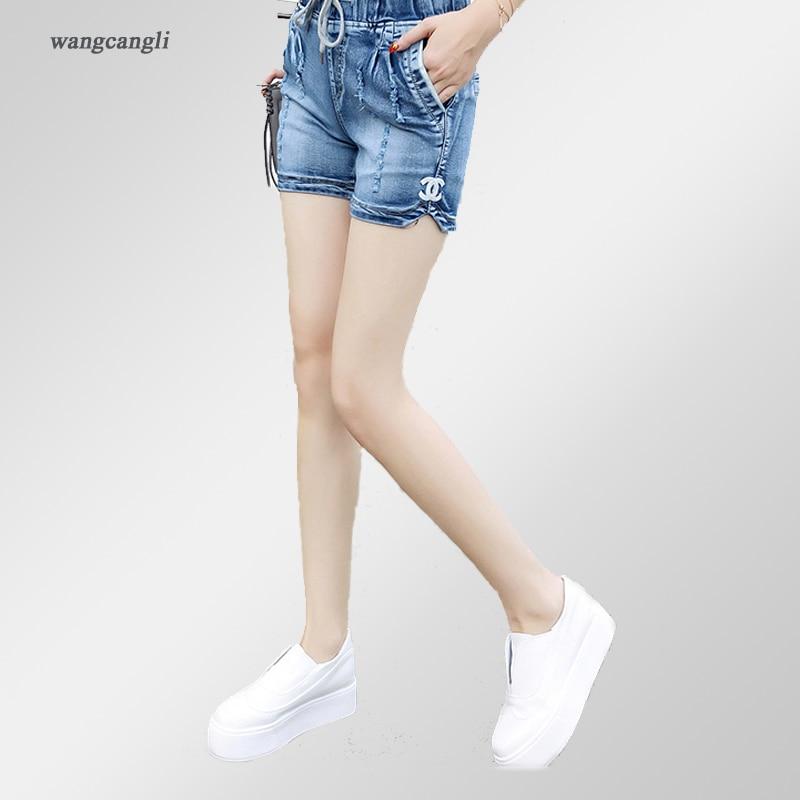 Wangcangli джинсы женщин шорты Светло-голубой Большой размер джинсовые жира сестра эластичный пояс середины талии джинсы усы эффект лето 4XL
