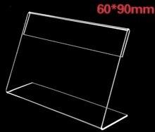 цена 20PCS/LOT   60x90mm   L-Shaped Transparent Clear Acrylic Price Tag Sign Plastic Plexiglass Table Stand в интернет-магазинах