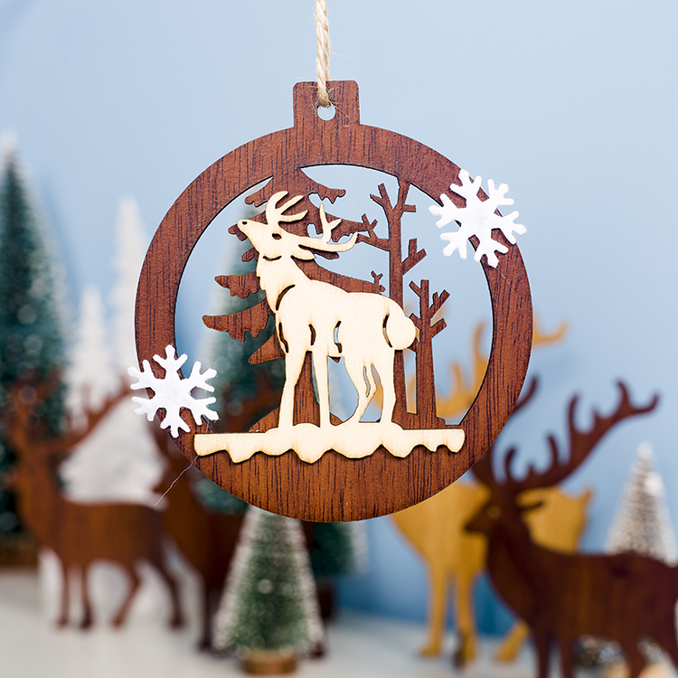Cute Cartoon Smile Elk Wooden Ornament Christmas Tree Decoration Hanging Pendant Xmas Party Decor for Home Kids Gift Animal 2020 41