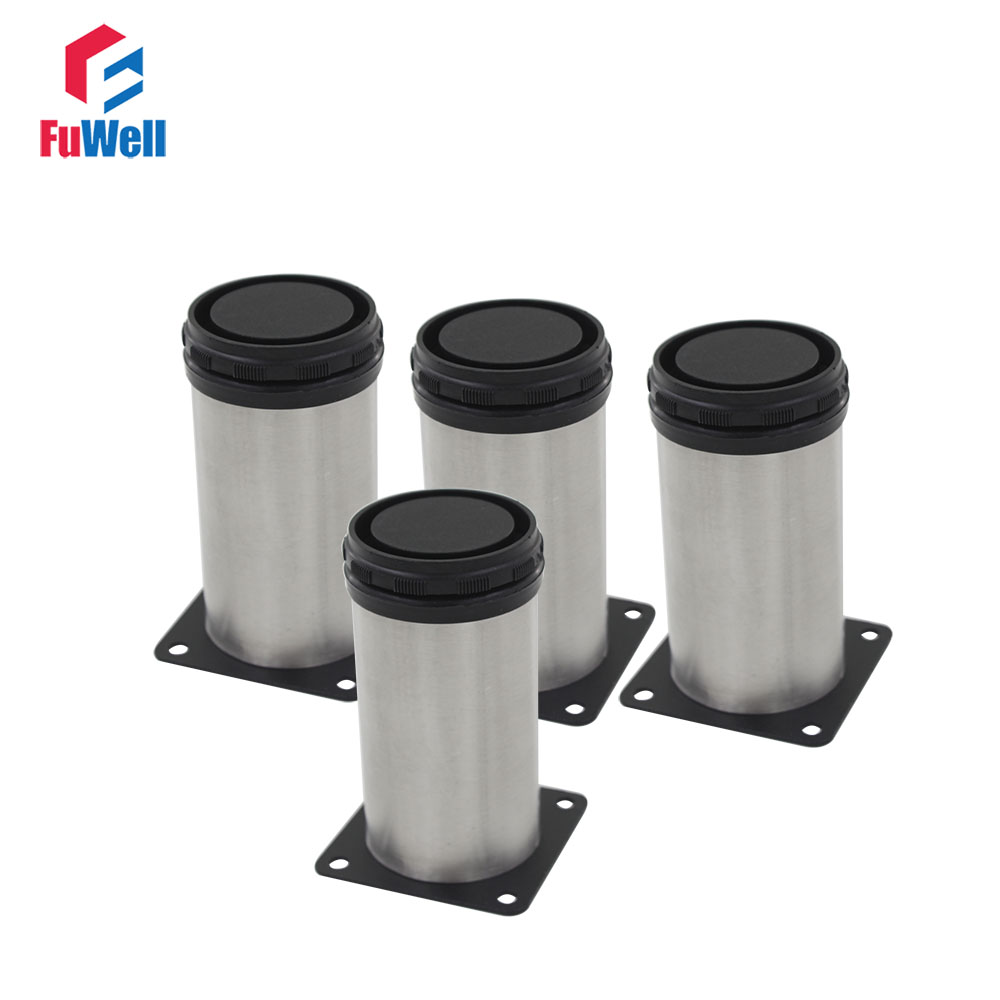 4pcs 180mm Length Furniture Legs Adjustable 15mm Cabinet Feet Silver Tone Stainless Steel Table Bed Sofa Leveling Legs bqlzr 150x63mm square shape silver black adjustable stainless steel plastic furniture legs sofa bed cupboard cabinet table bench