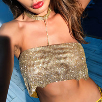 Wholesale Sexy Chocker Bra Jewelry Gold Silver Black Color Bikini Rhinestone Body Chain Tanktop Backless Fashion Jewelry Women