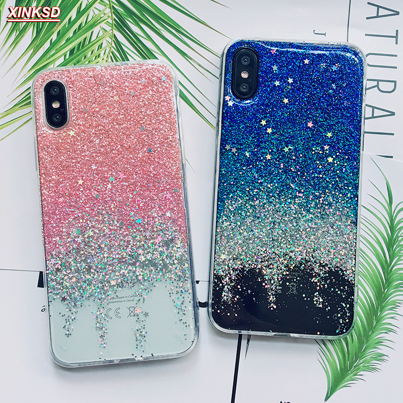 separation shoes fca12 09a3c Christmas Gift Phone Case For Iphone 7 Case For Iphone 8 Soft Back Cover  For Iphone 6S 6 Plus X Clear Glitter Star Cases