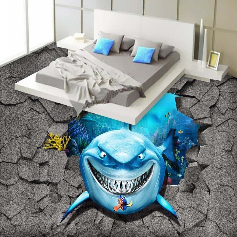 Free Shipping HD marine shark 3D floor painting thickened non-slip bathroom living room bedroom lobby study flooring mural free shipping aesthetic seaside beach living room bathroom 3d floor thickened kitchen restaurant bedroom lobby flooring mural