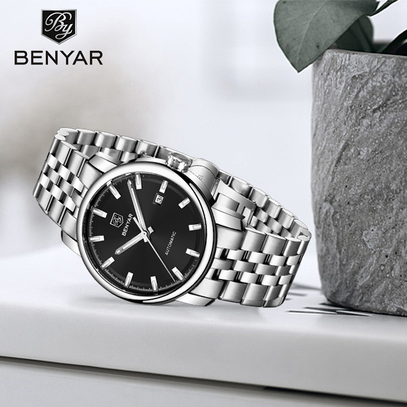 BENYAR2019 New Men 39 s Watches Top Brand Luxury Automatic Mechanical Watches Stainless Steel Watch Men Wristwatch Men Montre Homme in Mechanical Watches from Watches