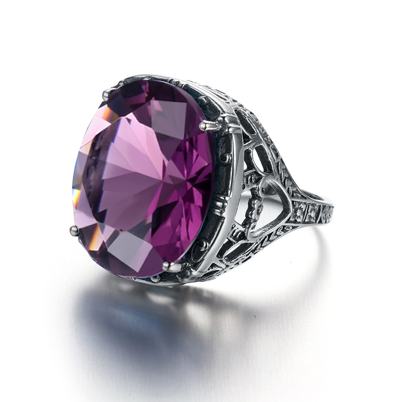 Vintage Amethyst Oval Gemstone Rings For Women Anniversary Gift Jewelry 6A