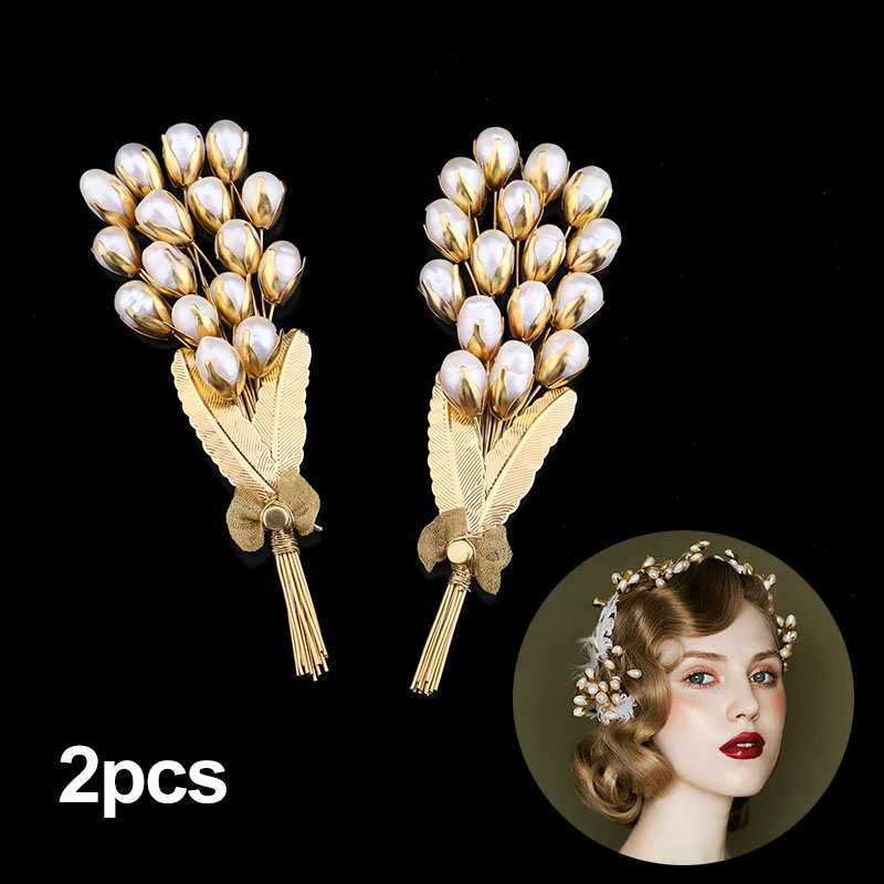 Vintage Baroque Wedding Hair Accessories Gold Metal Leaves Pearl Bouquet Bridal Hairpiec ...