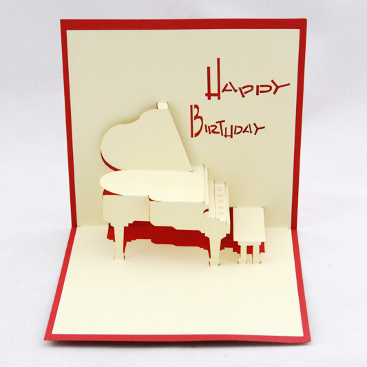 Piano  birthday card  /3D  kirigami postcard/ handmade greeting gift cards  happy birthday day  Free shipping two books and many style collection of paper 72pcs the celebration card party a necessary birthday cards free shipping