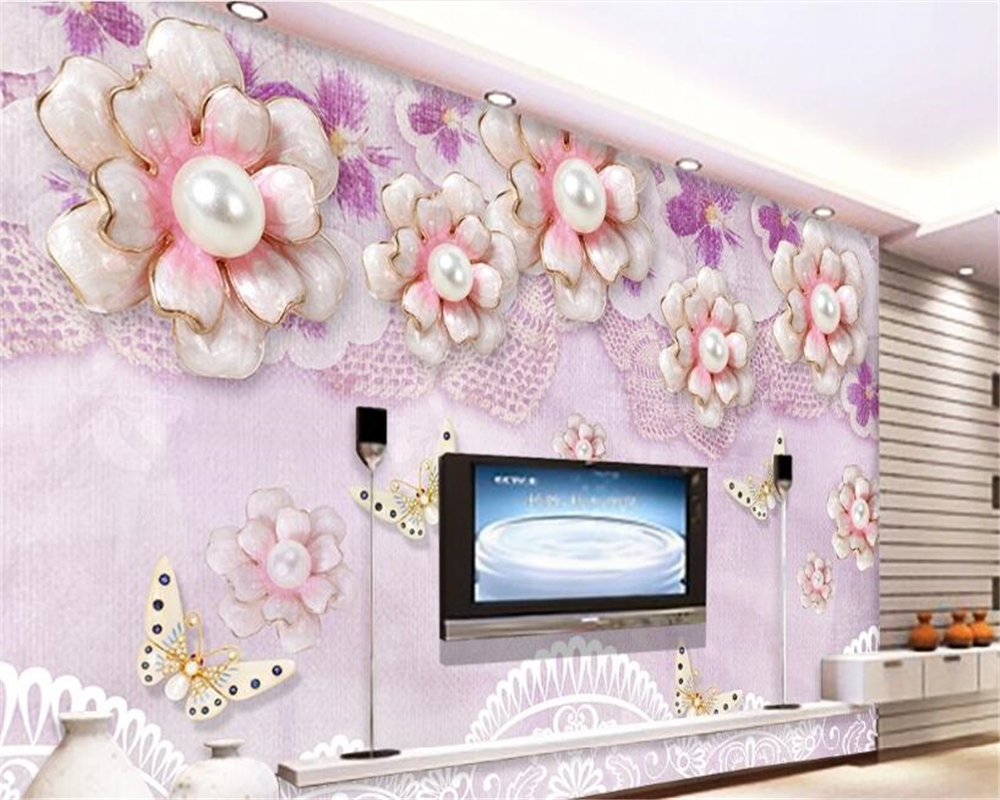 beibehang High fashion personality papel de parede wallpaper jewelry flowers romantic aesthetically European TV background wall