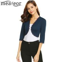 Meaneor Short Sleeve Women Top Casual Three Quarter Fashion Coat Lace Patchwork Cardigan Autumn Sweater