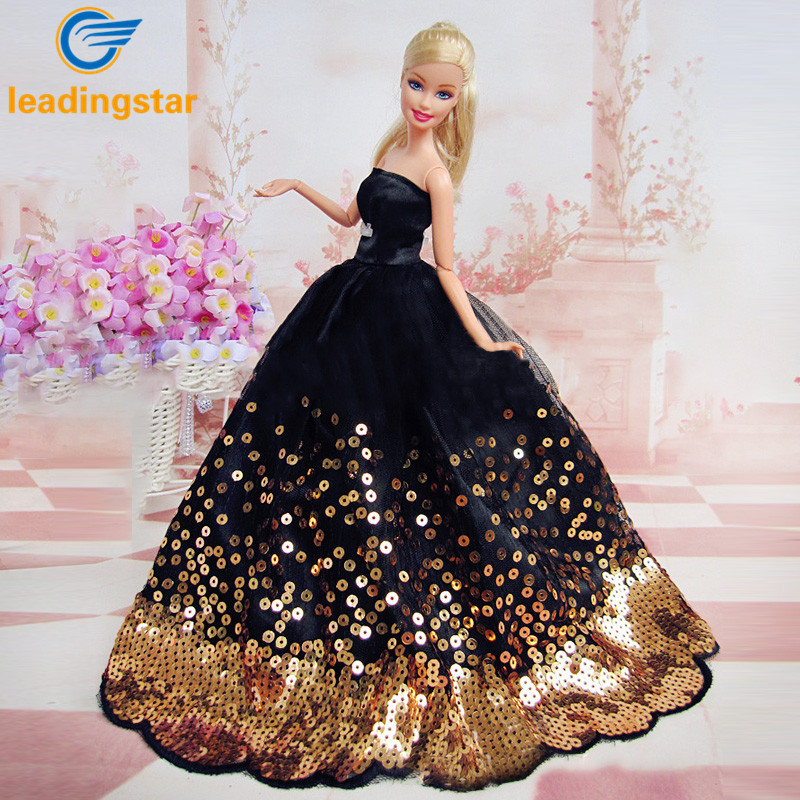 LeadingStar Dress with Lots of Gold Sequins Made to Fit for the Barbie Doll Great Children Gift Birthday Dress for Barbie doll