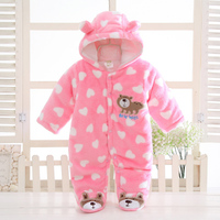 Newborn 2016 Autumn Winter Baby Rompers Baby Girl Clothes Hooded Romper Flannel Baby Jumpsuit Baby Boy