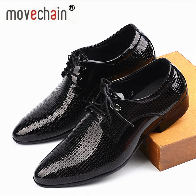 Movechain Men's Office Dress Shoes Pointed Toe Wedding Casual Shoes Oxfords Suit Shoes Man Flats Leather Shoes Zapatos Hombre