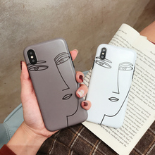 Cyato Cute Line drawing face Cases for iphone 7 Case Soft TPU case cover For iphone 6 6s 7 8 plus X XR XS Max silicon capa coque цена и фото