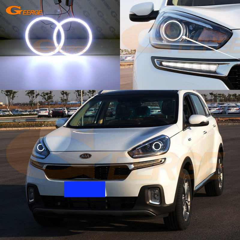 For KIA KX3 2015 2016 2017 PROJECTOR HEADLIGHT Excellent angel eyes Ultra bright illumination COB led angel eyes kit
