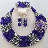 Роскошные 3 ряда нигерийские Свадебные ожерелья набор серебро хрустальные бусины кружева Ювелирные изделия африканские бусины набор ювели