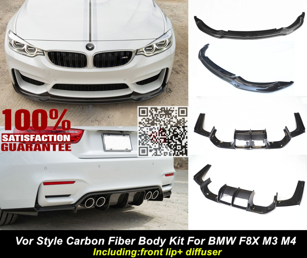 Aliexpress com buy f80 f82 m3 m4 body kit v style carbon fiber body kit for bmw f80 f82 m3 m4 including front lip diffuser nice fitment quality from