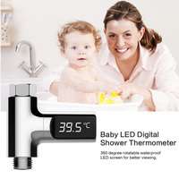 LED Display Home Water Shower Thermometer Flow Self Generating Electricity Water Temperture Meter Monitor For Baby