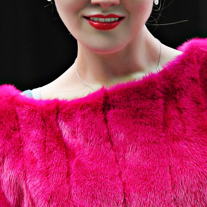Vison Solide À Courtes Réel Plissée Slim Fourrure O Mode Manches Manteau Rose Taille Pleine cou Pelt Veste Rouge De Femme Sexy qH7xXwTEW