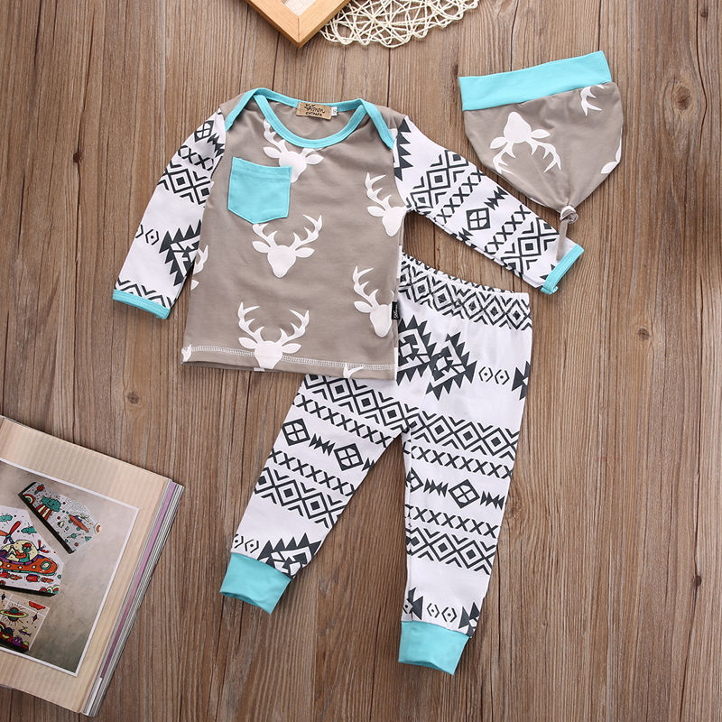 Baby Christmas Clothes Set Newborn Infant Baby Girls Boy Deer Tops T-shirt Long Pants and Hat Outfits Set 3pcs