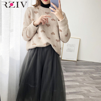 RZIV Spring sweater female knitted heart shaped long sleeved round neck sweater Jacquard top