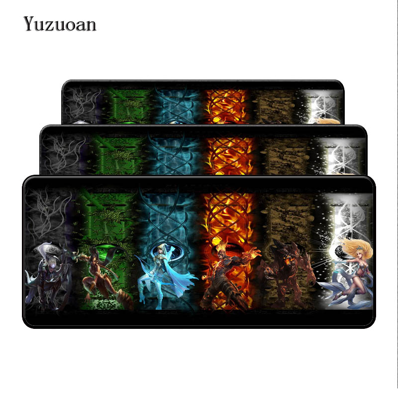 Yuzuoan League Of Legends 900*400*3mm Anti-Slip Mousepad Table Mat for LOL PC Laptop Large Lock Edge Mouse pad Free Shipping