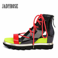 Jady Rose Candy Color Sandals Height Increasing Women Gladiator Sandal Platform Wedge Shoes Woman Valentine Shoes