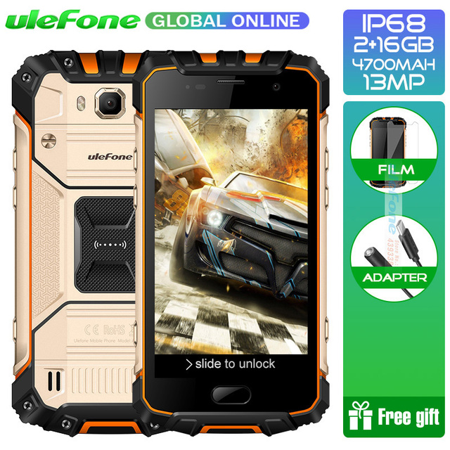 "Ulefone IP68 Waterproof Armor 2 S Smartphone Android 7.0 2GB 16GB MT6737T Quad core 5.0"" FHD Fingerprint ID 13MP Mobile phone"