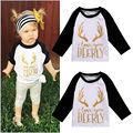Nova Camisa Dos Miúdos Criança Crianças Infantil Bebê Meninas Natal Manga Longa Tops T-shirt Roupas Infantis 0-5A