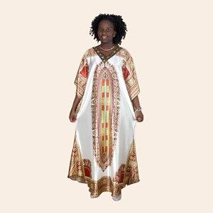 Image 5 - Afrykański dashiki druku diament suknie z aplikacjami dla damska suknia africaine femme 2019