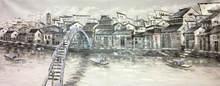 Ручная роспись белый и черный Китай Сучжоу водная деревня пейзаж