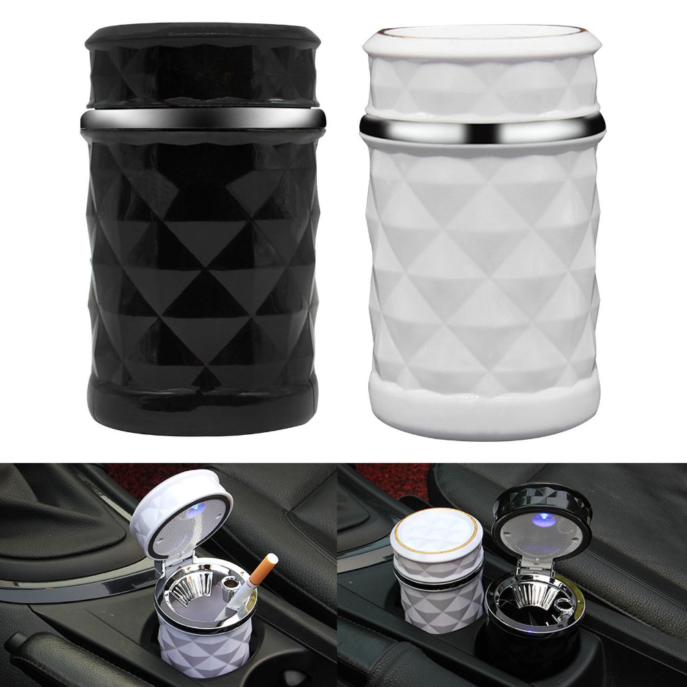 VORCOOL Mini Car Ashtray Smokeless Auto Cigarette Ash Holder with Blue LED Light for Car Cup Holder Air Vent Clip cenicero