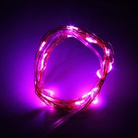 2 pcs 2m 20 LEDs Button Battery Operated LED Copper Wire String Fairy Lights Party Pink