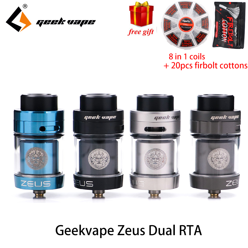 Original Zeus dual RTA Geekvape Zeus Dual coil 5,5 ml RTA zeus zerstäuber leck beweis top luftstrom system E Zigarette