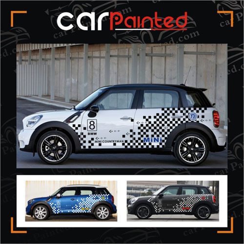 mini countryman checkered flag car stickers spot entire. Black Bedroom Furniture Sets. Home Design Ideas