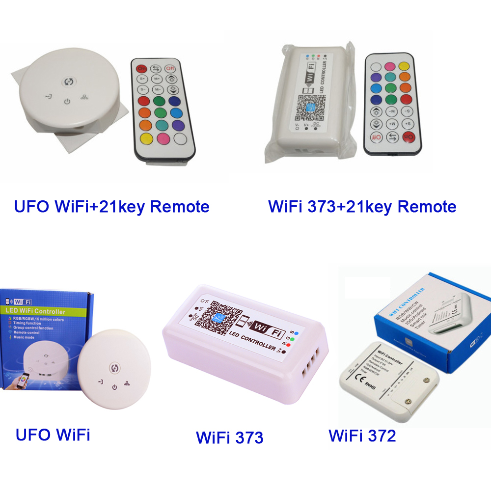 WiFi 372 373 UFO By Google Home Phone WIFI Control IOS Android APP LED RGB RGBW Wifi controller for LED Strip Light mini wifi rgb strip light controller with music control and voice control compatible with google home