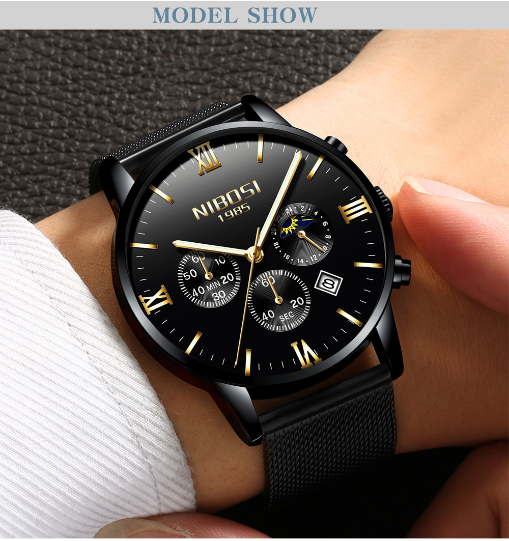 Uhren Herren Us 20 35 63 Off Nibosi Uhren Herren Wasserdicht Watch Men Gold Luxury Brand Watches Mesh Stainless Steel Band Erkek Saatleri Analog Relojes In