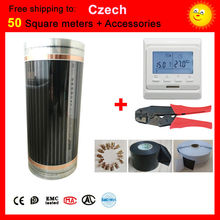 Czech Free shipping 50 Square meter electric Heating film With accessories, AC220V+-10V thermostat control underfloor heating